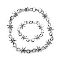 Set Bracelet Thorn Iron Unisexe Collier en acier Winding Winding Dames Hip Hop Gothic Barbed Petite lien