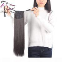 Evermagic Hair 70-120G Один кусок Связь Клип хвост в Увеличение волос Привязка волос Привязка Пони Хвостовой Удлинитель для Девочки Прямой
