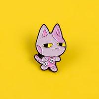 Pink Cat Enamel Pin Броши для Женщин Мультфильм Значок Знак Животное Цветочное Платье Отворотный Pin Одежда Рубашка Рубашка Рюкзак Ювелирные Изделия Подарок для детей 691 T2