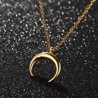 Moda de aço inoxidável lua colar meio pingente ouro tom para mulheres colares