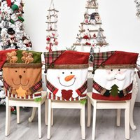 Chair Covers Christmas Back Elastic Stretch Cover Santa Clause Holiday Party Decor Dining Kitchen Decoration