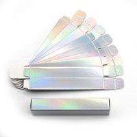 Dudak Gloss 50 Adet Özel Kutuları 12 * 2 * 2 CM Siyah / Holografik Boş Kağıt Kutusu Ambalaj Konteynerler için Toptan Tüpler