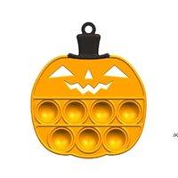 Estados Unidos Favor Favor Empurre Bubble Fidget Brinquedos Halloween Ghost Silicone Chaveiro Corrente Pingente Chaveiro Chaveiro Descompression Abóbora Puzzle Brinquedo