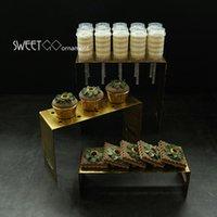 기타 Bakeware 빈티지 골드 케이크 스탠드 결혼식 장식 도구 푸시 팝업 디스플레이 트레이 컵 케 잌은 팬츠 홈 요리 소품