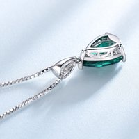 Necklaces Umcho 925 Sterling Silver Pendant Necklace for Women Nano Russian Simulated Emerald Gemstone Zircon Chain