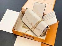 Woman 3 Designers Female Plain Pieces 2021 Chain Card Shoulder W Quality Special Bag Fashion High Bags Holder A Set Luxurys Fdgwh