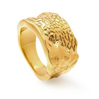 Varole Personalized rings for ladies latest width sand stone texture gold plated finger ring women christmas gifts party jewelry sets
