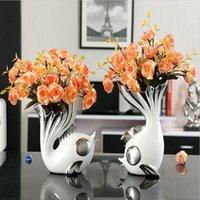 PCS / Set Paare Fisch Keramikvase Romantisches Küssen Porzellanfiguren Kunst und Kunsthandwerk Home Dekorative Hochzeitsgeschenke Vains