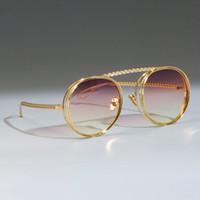 47803 Metallkette Sonnenbrille Männer Frauen Steampunk Retro Flat Top Shades Uv400 CCSPAST Vintage Marke Brille Designer Oculos