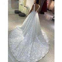 Luxury Full Lace Wedding Dresses Bridal Gowns Appliques Illusion Deep V Neck Open Backless Long Trail A Line Vestido De Noiva Custom Size