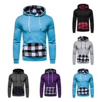 2021 autumn and winter new men's Hooded Sweater European fashion Plaid Pocket multicolor sweater men