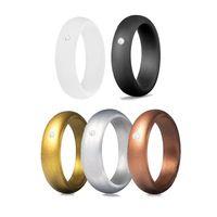 5,7mm 1 conjunto mulheres anéis de silicone hipoalergênico engajamento flexível casamento banda antibacteriana de dedo anel de dedo de dedo esportes