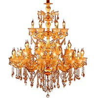 Luxurious Crystal Chandelier Light Fixture Vintage Gold Pendant Lamp for Restaurant Hotel Project Large Lustres Indoor Lighting