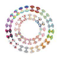 "4.5"" Baby Hair Accessories Bow Child Soft Girl Ins DIY Clip Grosgrain Flower Heart Rainbow Star Flag Print"