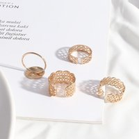 Cluster Rings Simple Texture Copper Alloy Open Frame Fashion Gold Color Hollow Ring Brincos Pendientes Jewelry For Women