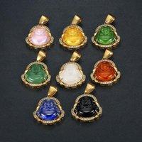 Collar de Buda para Mujeres Hombres Colorido Lampwork Piedra de vidrio Péndulo Cadena de acero inoxidable Maitreya Collares Collares Curación