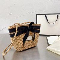 Resort Stil Strohbeutel Damen Khaki Strand Gewebe Umhängetasche Band Bogen Schmuck Handborder Sommer Handtasche