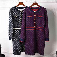 milan runway dress long sleeve o neck womens dress high end jacquard pullover women designer dress 07313