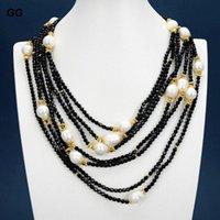 Jóias 18 '' 7 Fileiras Natural Black Onyx Branco Arroz Pearl Banhado A Ouro Conector Colar Para Mulheres Correntes