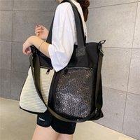 Summer Single Shoulder Bags Korean Mesh Contrast Color Leisure Bag Detachable Shoulder Belt Messenger Bag