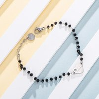 Charm Bracelets Luxurious Heart Crystal Adjustable Bracelet Stainless Steel Black Beads For Woman Wedding Party Trendy Female Jewelry