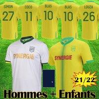 21 22 Maillots Nantes FC Futbol Formaları Maillot De Ayak Kitleri 2021 2022 Beyaz Jersey Simon Louza A Toure Blas Coco Coulibaly Futbol Gömlek Ekipmanları