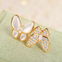 Mode Pearl Armband Ohrringe Halskette 4 / vier Blattkleeer Schmetterling Link Clawicle Kette Shell 18k Gold für Van Womengirls Hochzeit Schmuck Geschenk