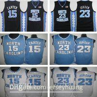 Top Quality 15 Vince Carter Unc Jersey North Carolina North Branco Costurado NCAA Colégio Basquetebol Jerseys Bordado Shorts Terno Tamanho S-2XL