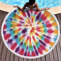 Kids Blankets Beach Blanket Rainbow Tie Dyed Round Towel Microfiber Home Decoration Carpet Cloth Picnic Mat Baby Swaddle Wraps 3187 Q2