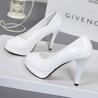 10CM high-heeled shoes waterproof platform sexy fine with round head feet Korean women's shoes patent leather large size s071 Y0406