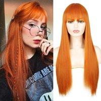 Lange gerade synthetische Perücken Orange Farbe Frauen Cosplays Perücke 30 Zoll Zentralteil Haar Silbergrau Weiß Rot Farbe
