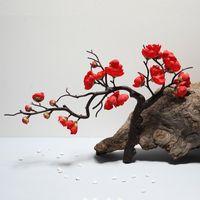 Flores decorativas guirnaldas cereza roja plum flor de seda rama de plástico artificial para el hogar boda decoración de bricolaje espuma navidad baya fak