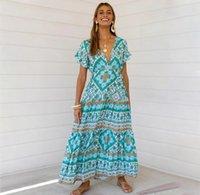 Сексуальные напечатанные Летние Maxi платье Deep V-шеи с коротким рукавом Урожай Vestido Beach Boho повседневная одежда длинные женские платья 2021