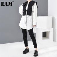 [EAM] Frauen Weiße Bandage Split Joint Zwei Stück Bluse Neue Revers Langarm Lose Fit Hemd Mode Frühling Herbst 2020 1N50400