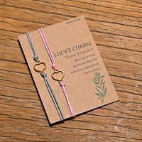Charm Bracelets Handmade Braided Colorful Rope Chain Bracelet 2pcs set Heart Star Friendship Jewelry Gift Wish Card