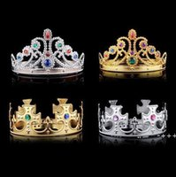 4 styles Christmas girl boy Cosplay King and Queen hairbands with crystals gold silver kids Christmas Cosplay Crown Hair Accessory RRF10937