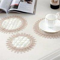 Tappetini tappetini beige rotondo e ovale cotone crochet crochet pizzo manipoli fiori ricamo tablemat nastro ricamato disco decorazioni per la casa