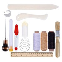 Professional Hand Tool Sets 68UC 23pcs Leather Craft Working Tools Kit Sewing Punch Stitching Awl Needle Thread Ruler Scissors DIY Set
