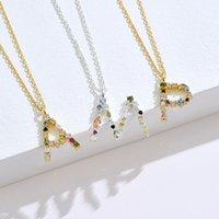Lekani 100% 925 Collar de plata esterlina Color de oro Colgante 26 Collares del alfabeto para mujeres Opal 2021 Accesorios Joyería 482 B3