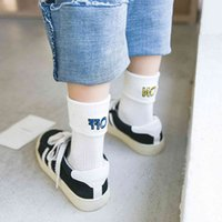 Sonbahar ve Kış Kişiselleştirilmiş Kadın Çorap İşlemeli Mektubu Tüm Pamuk Orta Boru Açma / Kapalı Çoraplar Kadın Kelepçe Trendy