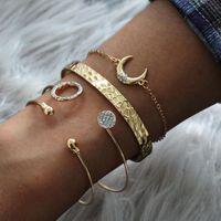 Bangle Fashion 2021 Zircon Bracelets For Women Water Drop Opening Bracelet Crescent Set 4-piece Jewelry Pulseras Mujer