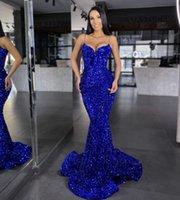 Royal Blue Paillettes Abiti da sera Abiti da ballo per le donne Compleanno Partito Abbigliamento Backless Middle East Abiye Dubai Caftano Plus Size Mermaid Spaghetti Cinghie