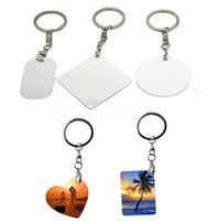 5 Style Double Sided Heat Transfer Keychains Pendant Sublimation Blank Metal Keychain Luggage Decoration Key Ring DIY Gift DD087