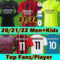 Novo 21/22 AC Milan Camisa de futebol versão Torcedor jogador Soccer jerseys BALR 2021 2022 milan IBRAHIMOVIC TONALI REBIC THEO ÇALHANOGLU Homens crianças kits Camisas futebol