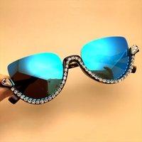 Fashion Blue Mirror Sunglasses Half Cat Eye Black Shades Female Retro Glasses Chain Rhinestone Eyeglasses Frames Gafas De Sol Uv