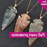 Новый натуральный камень Индийский агат Оригинальный рудный кулон Джейд Gilt Edge Reck Tainting Arrow Ожерелье