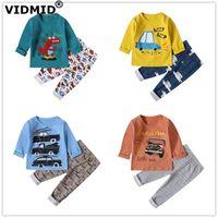 VIDMID baby boys pajamas clothing sets long sleeve t-shirts+ pants kids Boys cotton children's Dinosaur underwear set 4049 210607