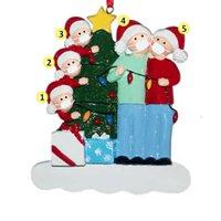 크리스마스 장식 반 전염병 가족 수지 장식품, DIY 이름 I0dd에서 선택할 수있는 여러 머리가있는