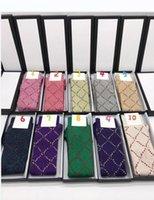 Зимние дизайнерские женские носки с письмом мода полосатый носок высокого качества унисекс чулки 1 пары с подарочной коробкой длинный чулок 29 цвет