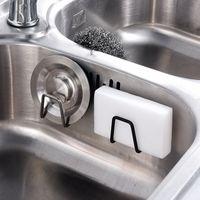 1Pcs Storage Organizer Self Adhesive Drain Drying Rack Sink Accessories Kitchen Supplies 304 Stainless Steel Sponges Holder